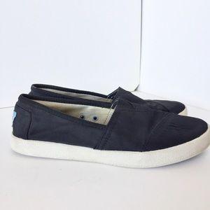 TOMS Avalon Nylon Slip-On Sneakers Black Sz 6